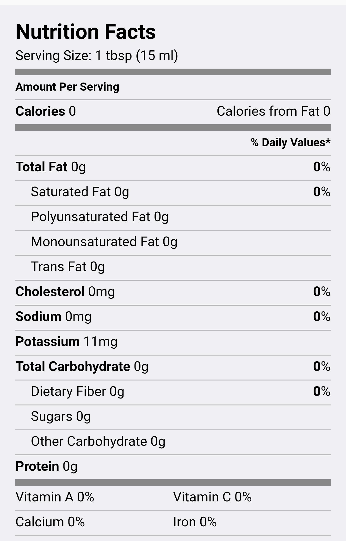 Apple Cider Vinegar Nutritional Facts