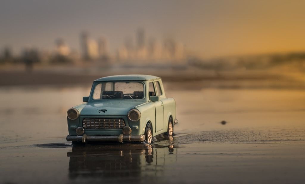 Perspective, Miniature Model Car In Water